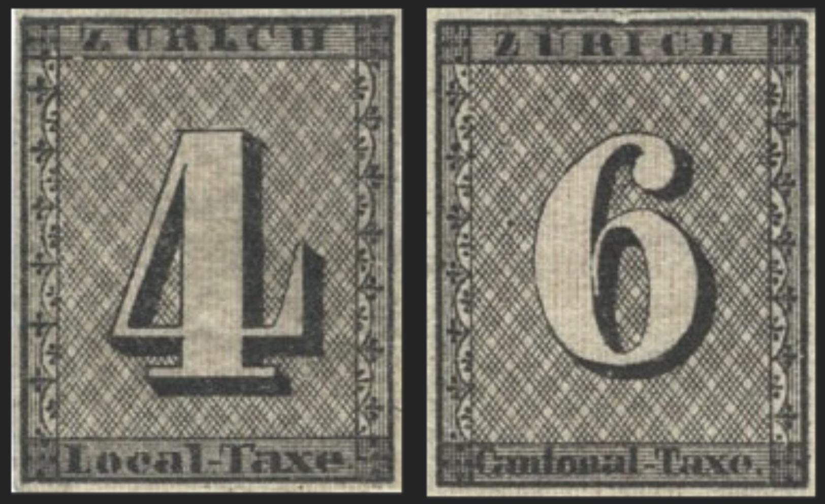 Monochrome image of the Zürich 4 and 6 [NIMC, source: Wikipedia]