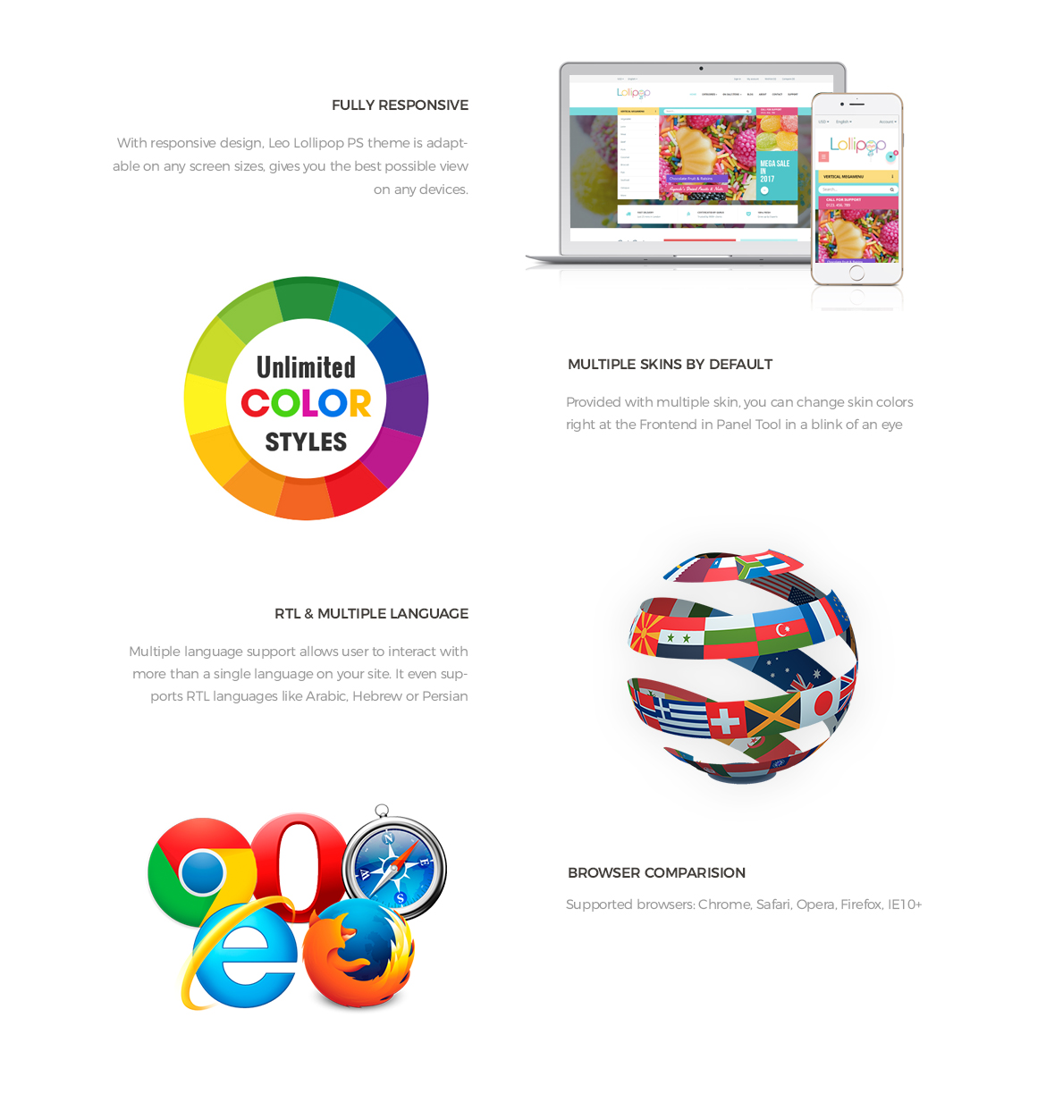 Prestashop 1.7 theme features-Leo Lollipop - beautiful sweet, candy, food store