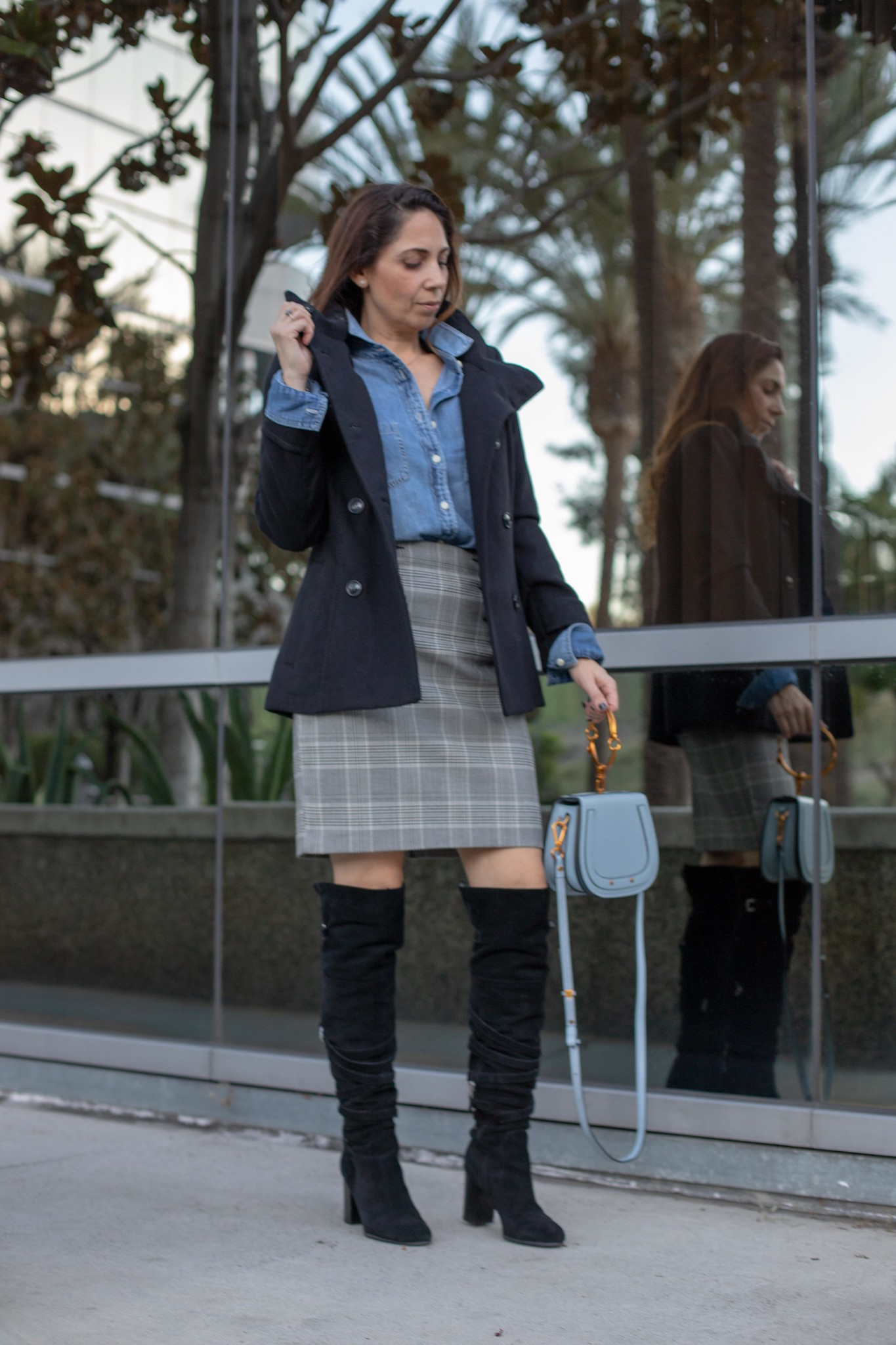 plaid and chambray button up