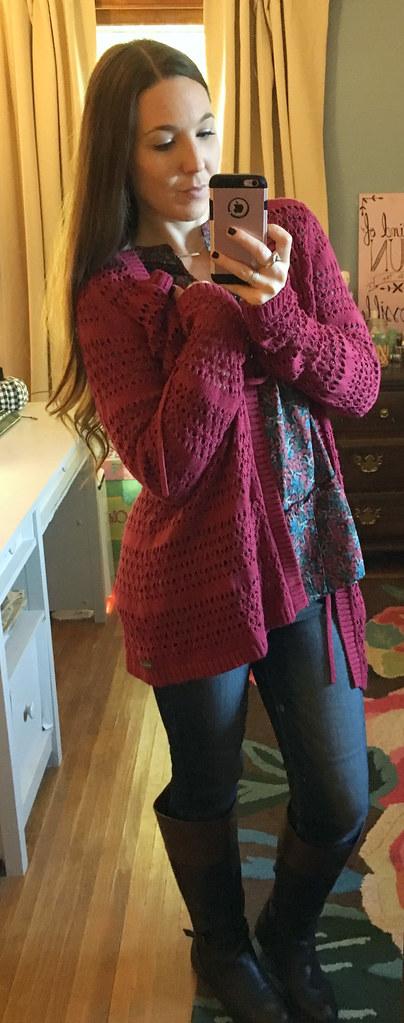 matilda jane a stitch in time maroon knit sweater