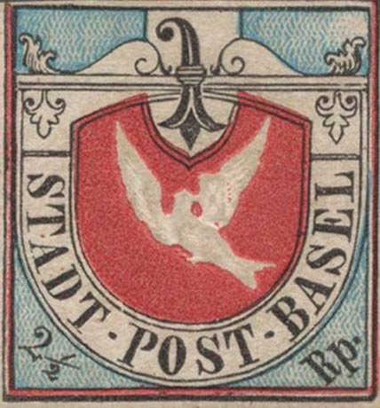 Genuine copy of the Basel Dove 1st printing. [NIMC, image source: Stamp Forgeries.com[