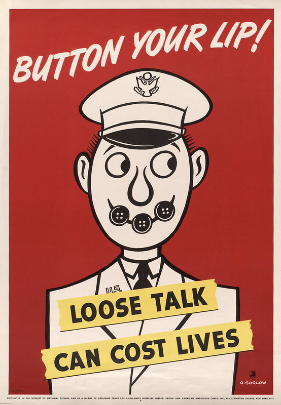 Button your lip! - loose talk can cost lives (1942) - Otto Soglow (1900-1975)