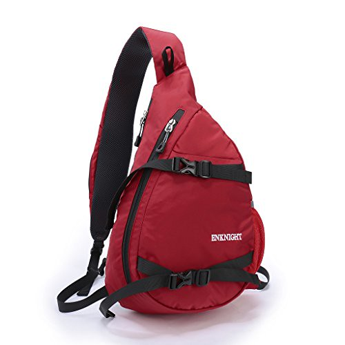 ENKNIGHT Waterproof Chest Bag Casual Sling Bag Unbalance Backpack Hiking Daypack Red For Sale