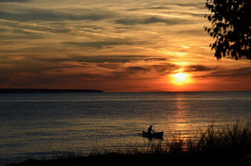 Lake Superior Park - sunset with canoe