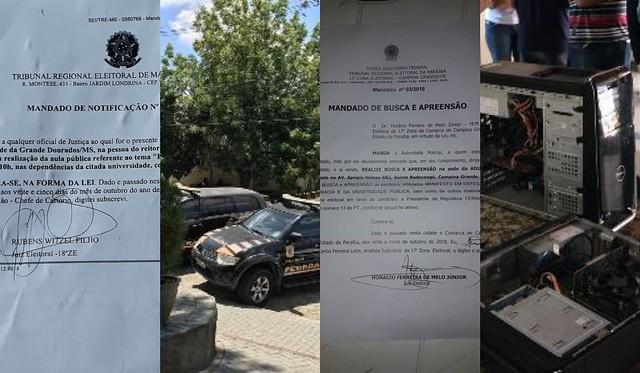 Polícia federal invadiu nesta manhã a sede de sindicato docente em Campina Grande, Paraíba - Créditos: Reprodução/Montagem