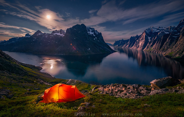 Above Fjord Under the Moon