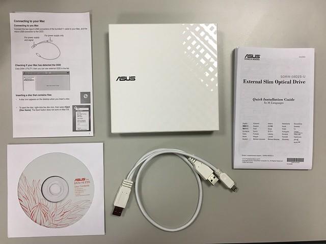 提醒、光碟(有韌體與備分軟體)、光碟機本體、USB Y字線、說明書@ASUS華碩SDRW-08D2S-U外接式超薄DVD燒錄機