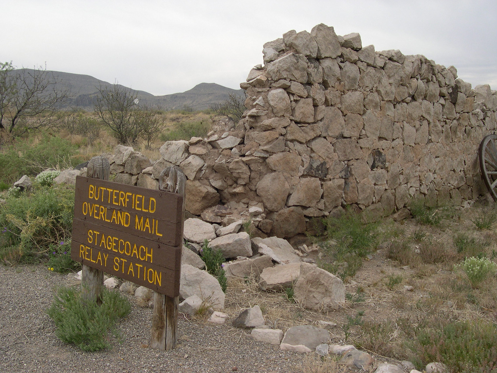 Ruins of Butterfield Stage stop at Heuco Tanks State Historic Site in western Texas.