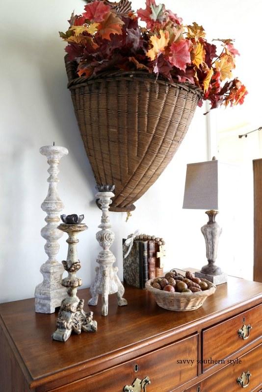 vintage grape basket and fall vignette