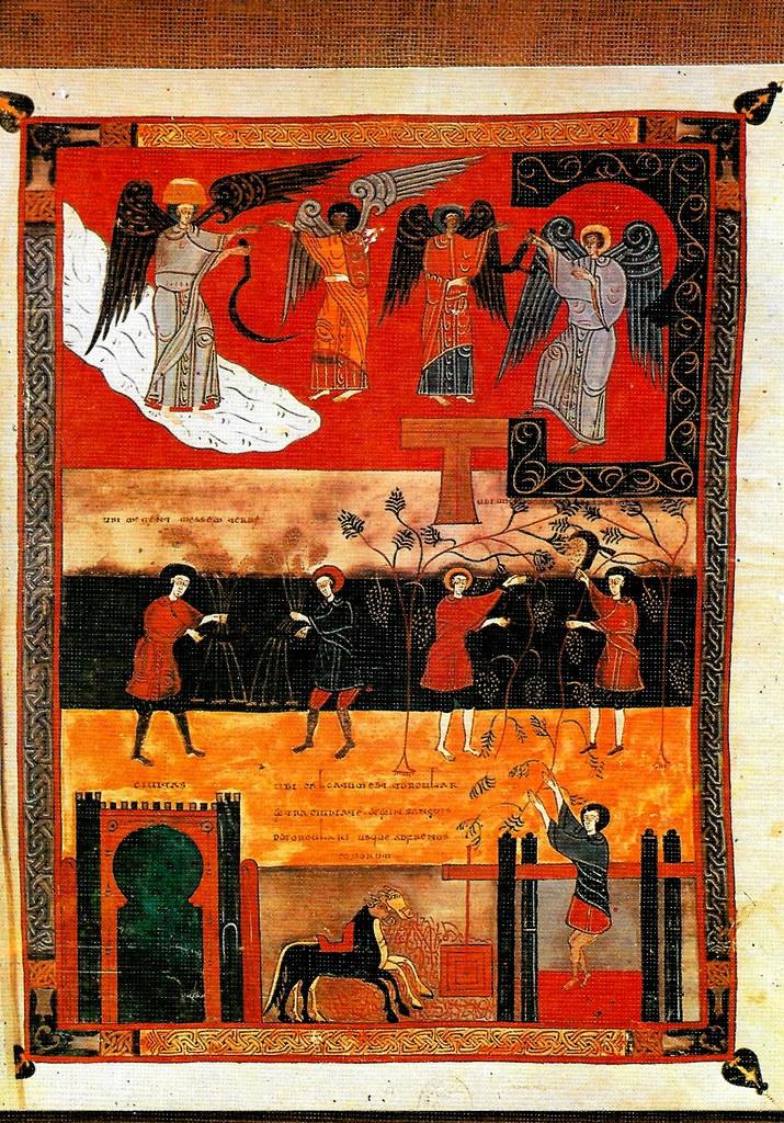 Los ángeles con las hoces. La siega. La vendimia de la tierra. El pisado de la vid en el lagar de la ira de Dios. Ap. XIV, 14-20 Santo Toribio de Liébana (Cantabria), San Beato de Liébana (siglo VIII),