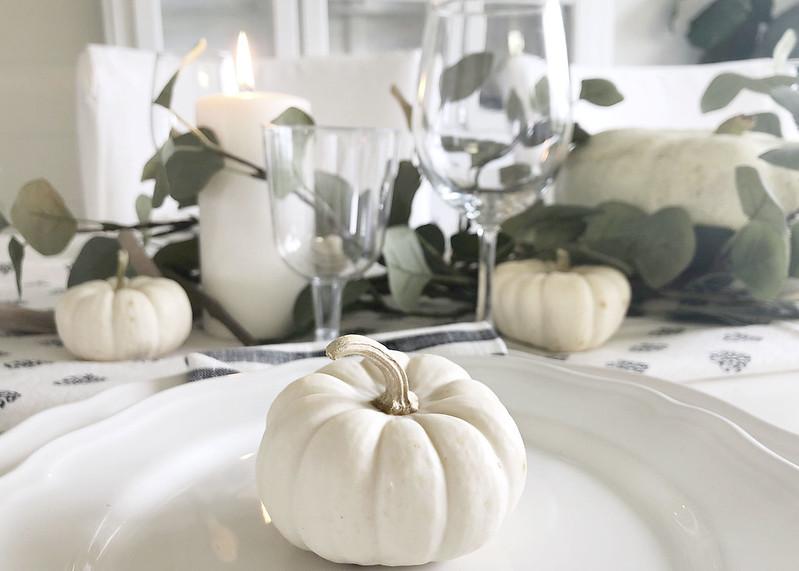Mini White Pumpkin Decor