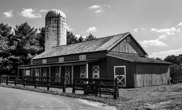 black white barn