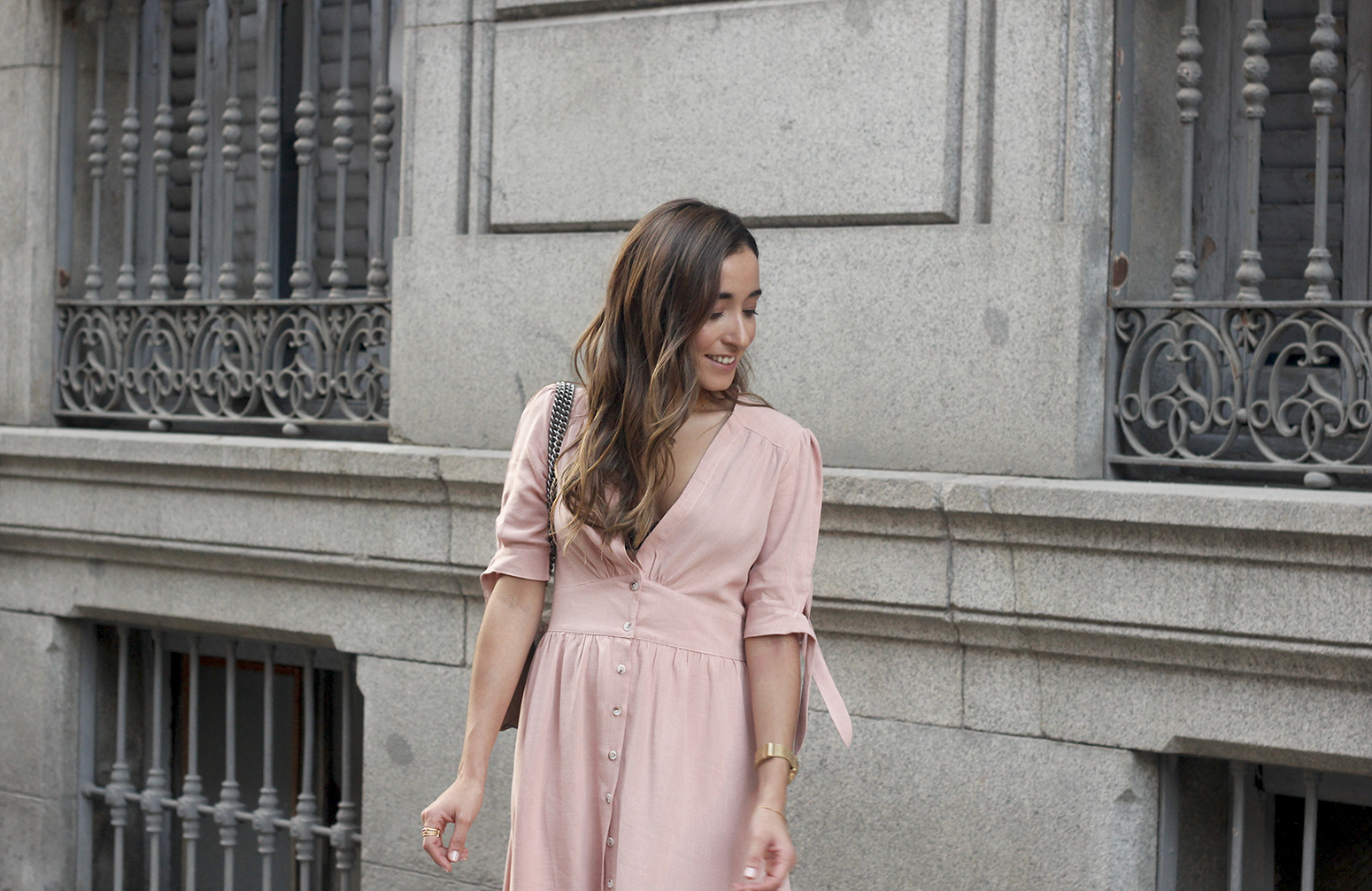 pink midi dress mules gucci bag outfit street style 201814