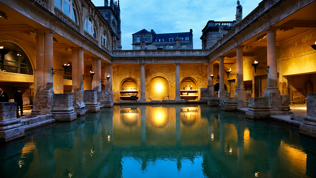 Roman baths at night