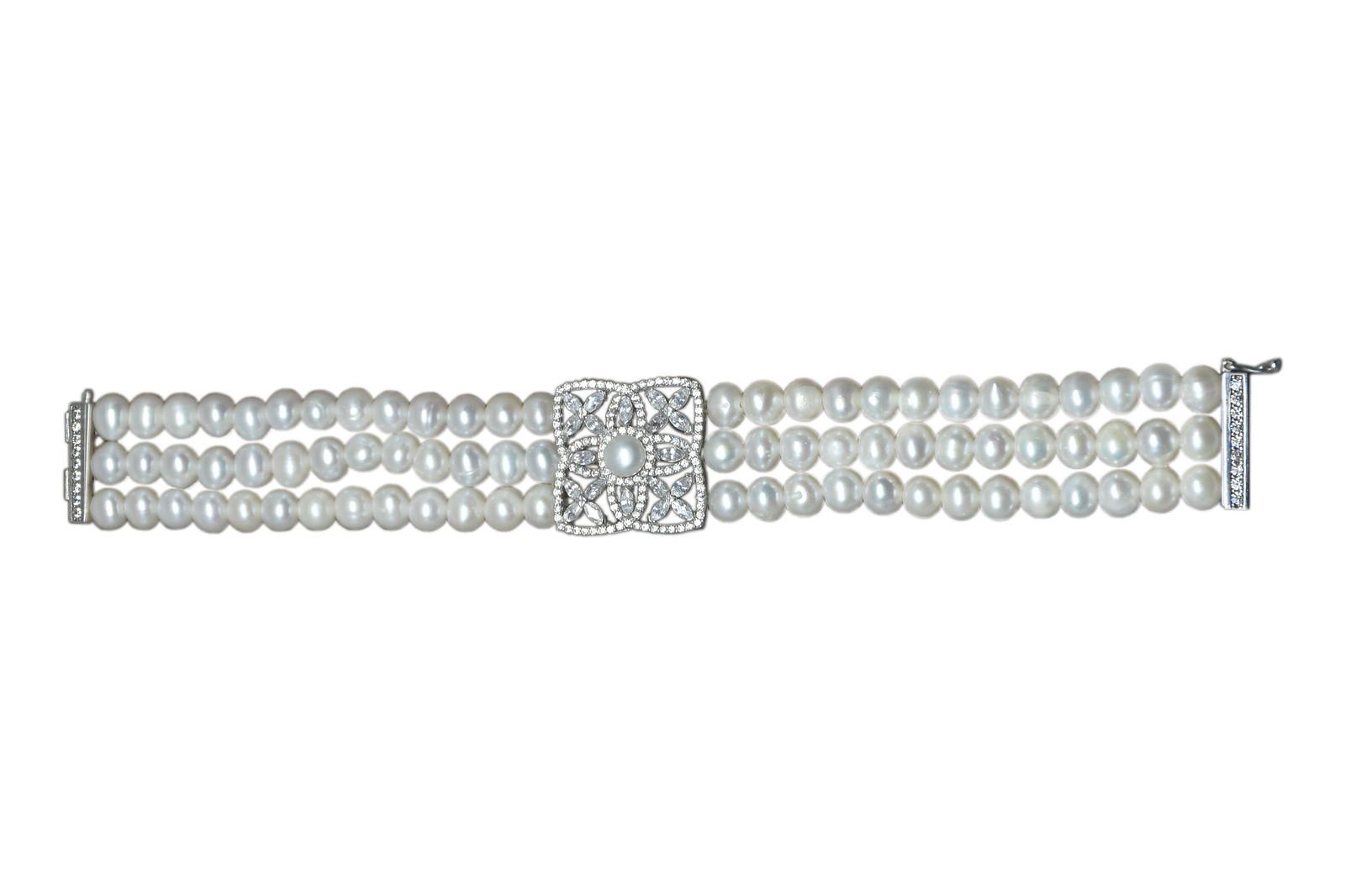 - Ahsen 925K Gümüş Klipsli 3 Sıra Doğal Beyaz inci Bileklik AH-00095