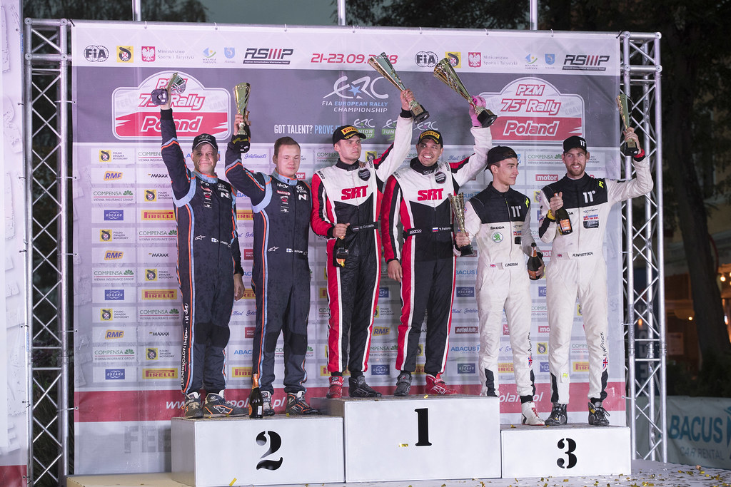 GRYAZIN Nikolay (LVA), FEDOROV Yaroslav (RUS), SPORTS RACING TECHNOLOGIES, Skoda Fabia R5, portrait HUTTUNEN Jari (FIN), LINNAKETO Antti (FIN), BRC RACING TEAM, Hyundai i20 R5, portrait INGRAM Chris (GBR), WHITTOCK Ross (GBR), TOKSPORT WRT, Skoda Fabia R5, portrait podium ambiance during the 2018 European Rally Championship PZM Rally Poland at Mikolajki from September  21 to 23 - Photo Gregory Lenormand / DPPI