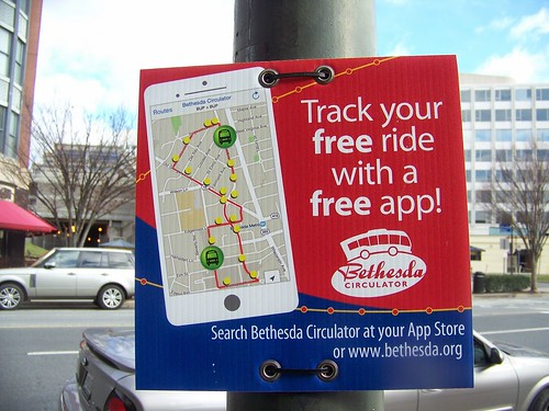 Promotional sign for Bethesda Circulator bus app