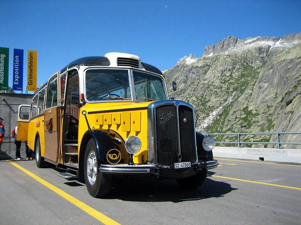 Saurer-made Swiss post bus (circa 1950s) on Grimselpass, Switzerland. Photo taken on August 15, 2006.