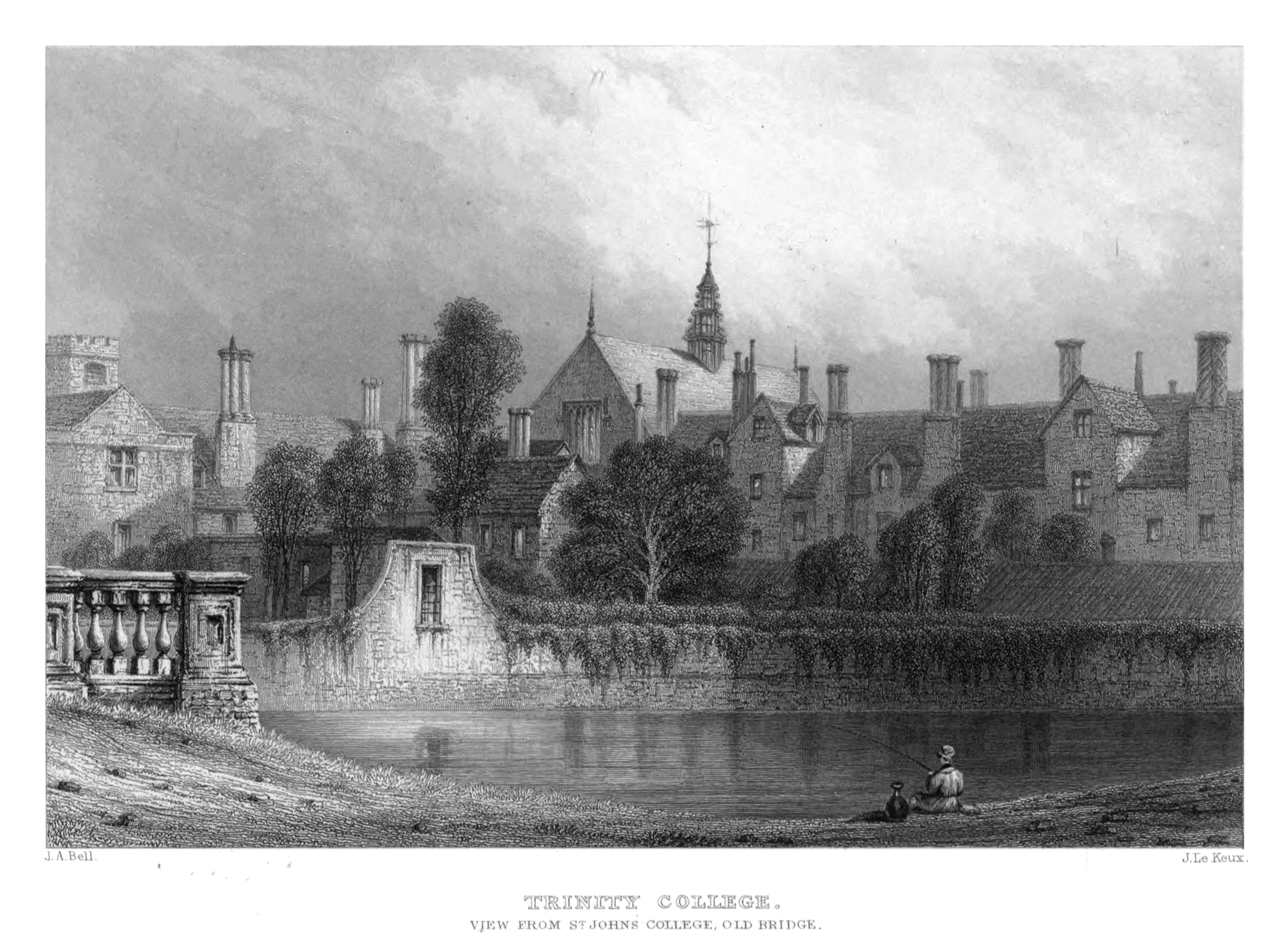 """""""Trinity College. View from St John's College, Old Bridge"""" by John Le Keux, circa 1840. This steel engraving was much used for decorative topographical prints such as this."""