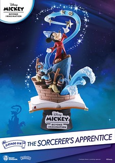 屋子淹大水了,快醒醒呀!! 野獸國 夢-精選 系列【魔法師的學徒】The Sorcerer's Apprentice D-Stage-018 全身場景雕像作品