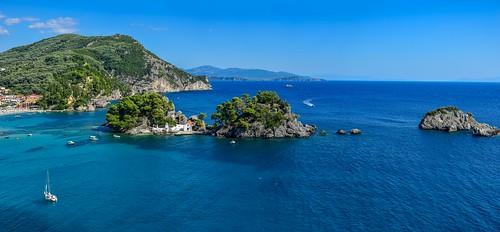 greece panorama parga travel sea seascape nikon nature tree island holiday church christian chapel