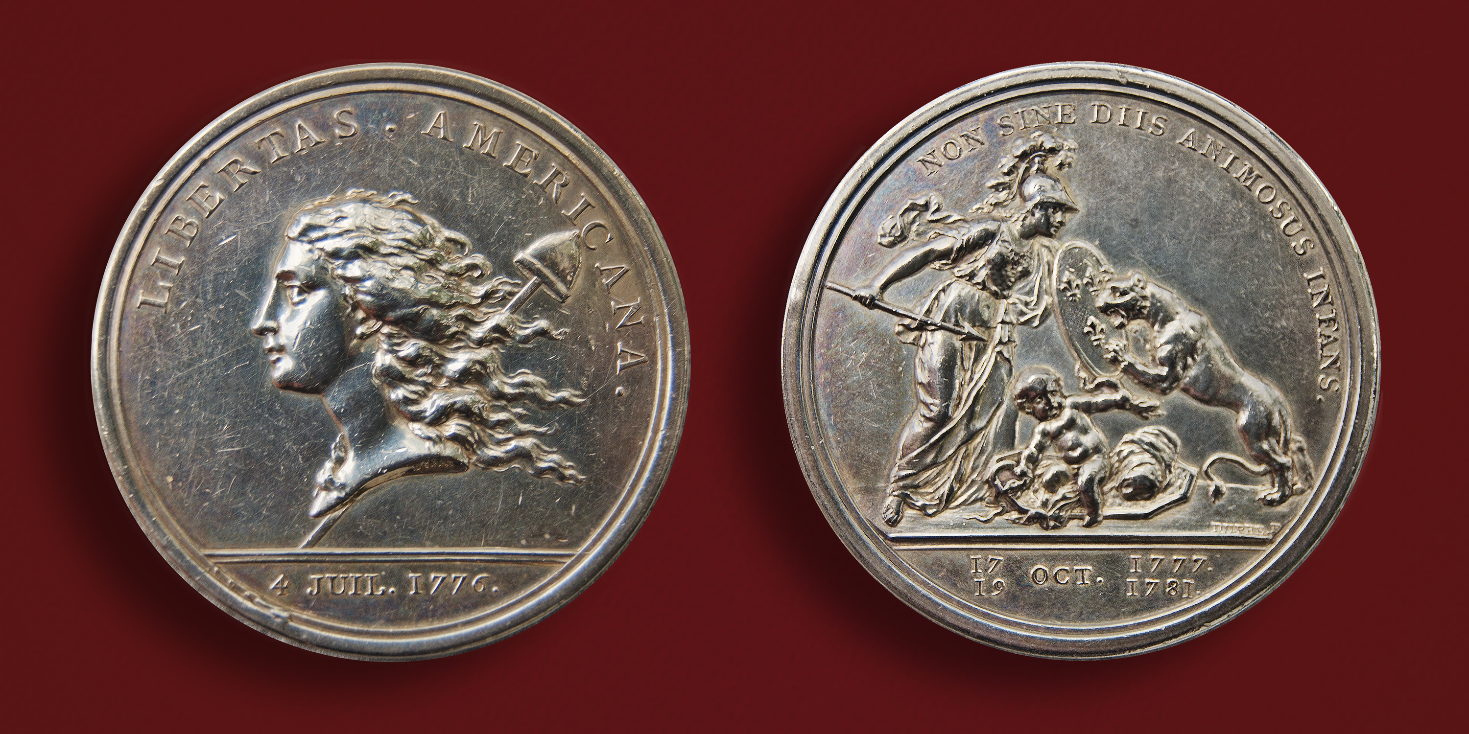 The victory at Yorktown was honored in a 1783 medallion minted in Paris and designed there by U.S. Ambassador Benjamin Franklin. Description: