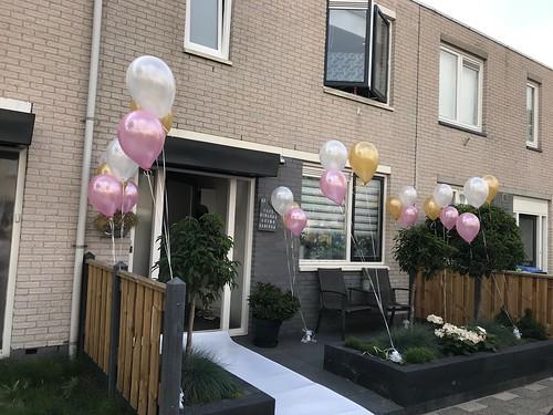 Tafeldecoratie 3ballonnen Gronddecoratie Metallic Wit, Roze en Wit
