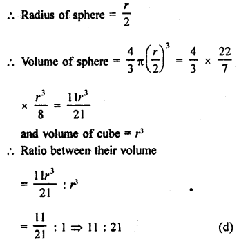 RD Sharma Solutions Class 9 Chapter 21 Surface Areas and Volume of a Sphere MCQS