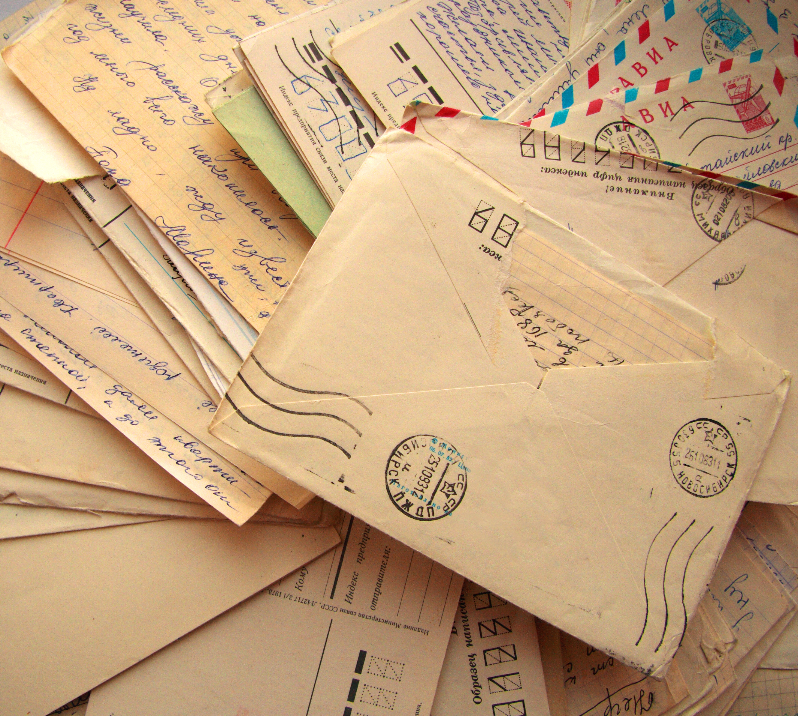 An accumulation of handwritten letters from Russia.