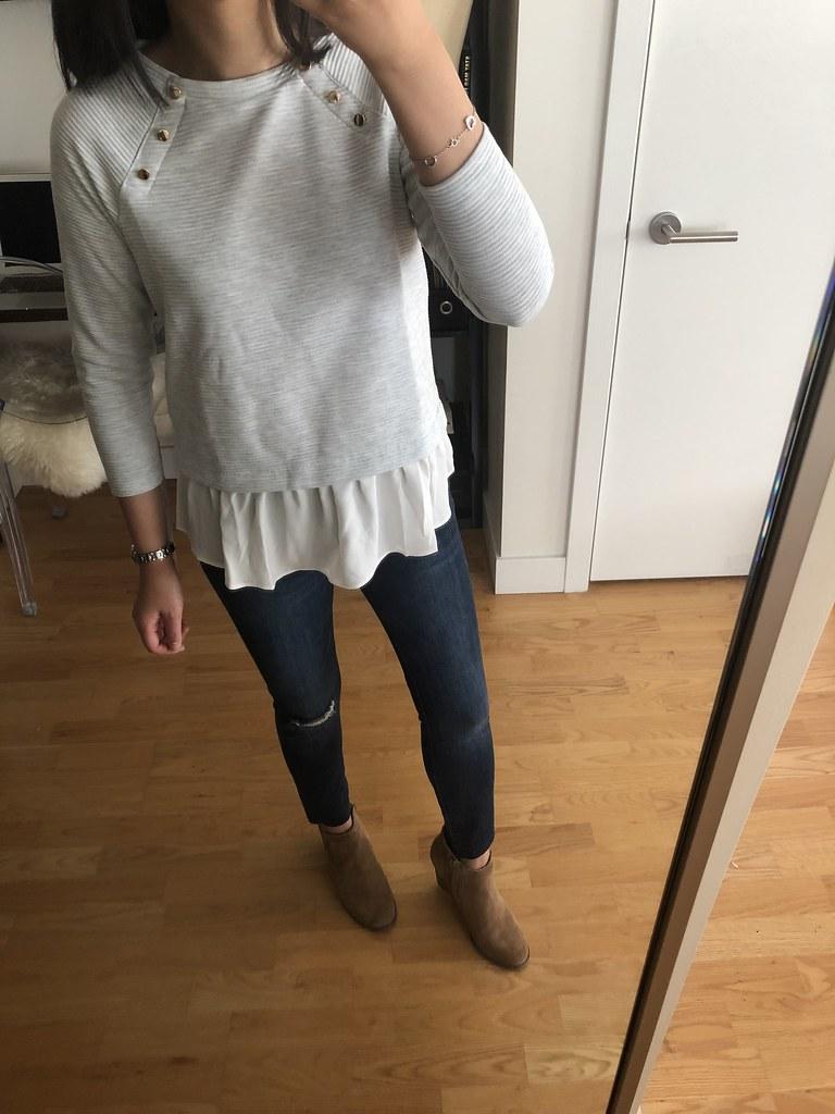 LOFT Mixed Media Shoulder Button Sweatshirt, size XXSP