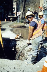Utility work in Pioneer Square, 1990