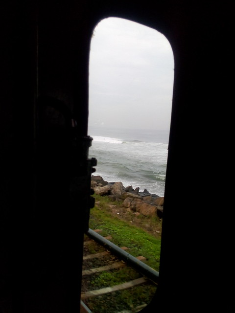 The ocean, as seen from a train in Colombo, Sri Lanka.