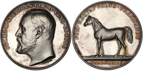Sweden Oscar II Horse Breeding Medal