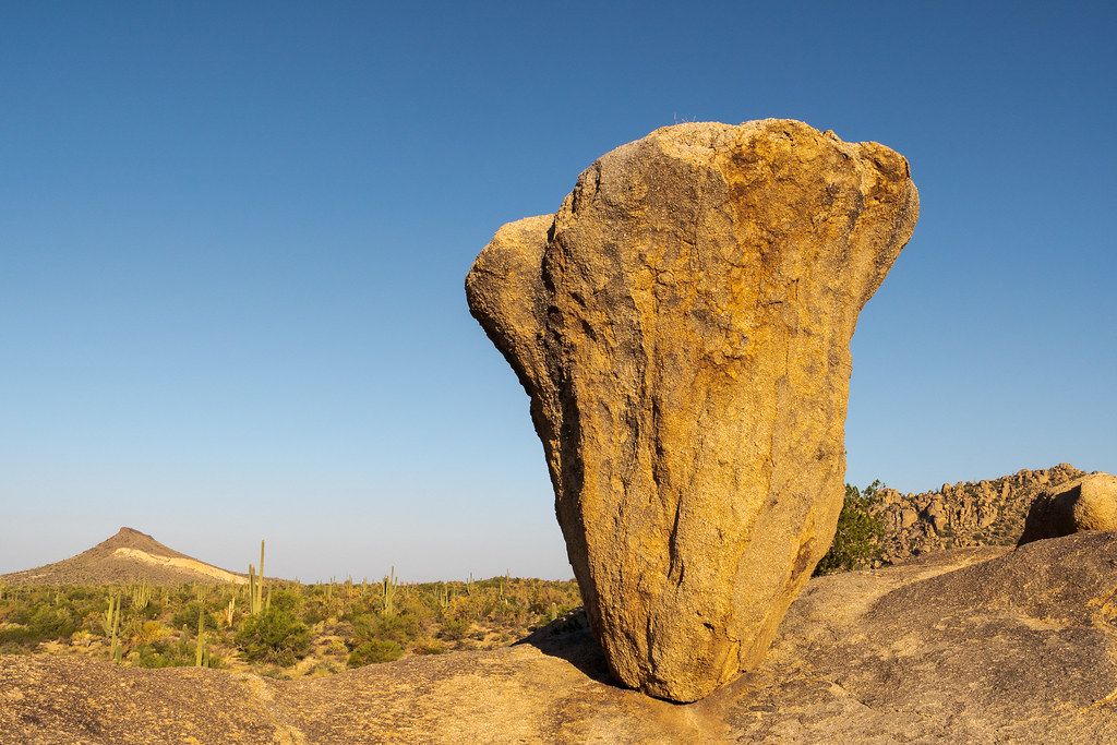 Balanced Rock with Brown's Mountain on the left and Cholla Mountain on the right, taken on the Balanced Rock Trail in McDowell Sonoran Preserve