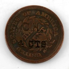 1855 Half Cent Reverse Counterstamped CH 4CNTS