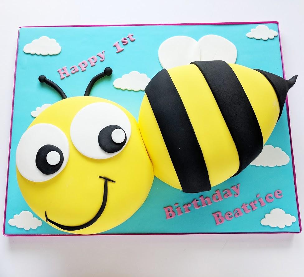 Awesome Bee Birthday Cake Swirlsbakery Flickr Funny Birthday Cards Online Inifofree Goldxyz