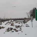 Snowy Closed Business 40 in downtown Winston-Salem: rubble mound at Exit 5C