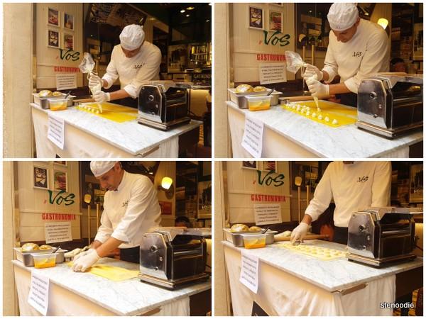 watching fresh ravioli being filled