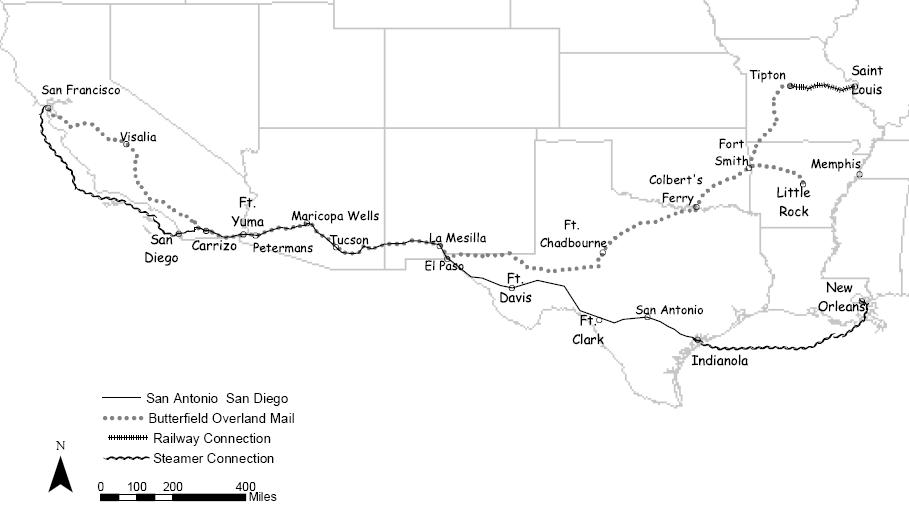 Routes of Butterfield's Overland Mail Company, 1858-1861
