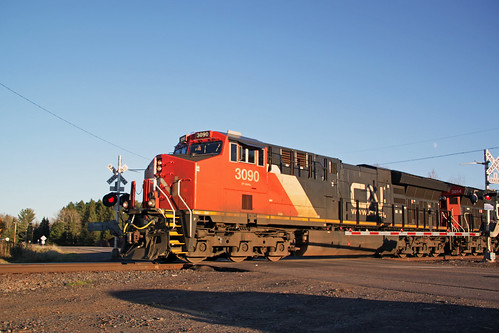 CN 3090 blasts through Alborn on the point of a northbound manifest