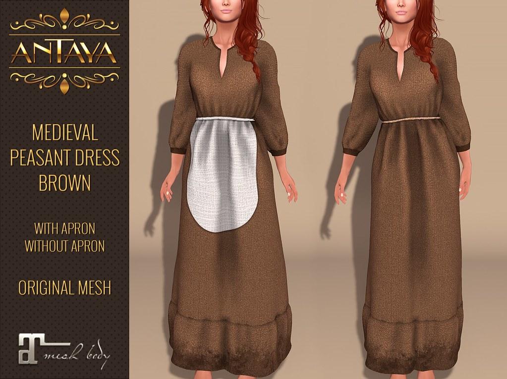 :: ANTAYA :: Medieval peasant dress brown Maitreya  Original mesh - TeleportHub.com Live!