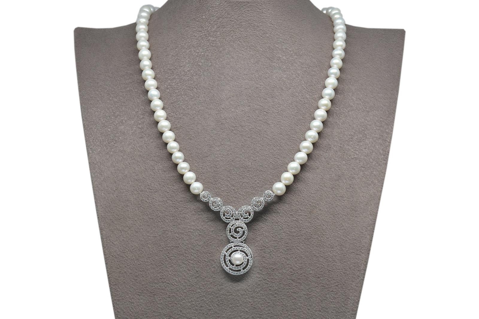 - Ahsen 925K Gümüş Klipsli Doğal Beyaz inci Kolye AH-00097