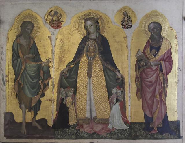 Madonna della Misericordia tra i santi Giovanni Battista e Giovanni Evangelista, Jacobello del Fiore, 1400-1439