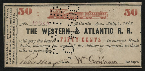 1862-50-Fifty-Cents-The-Western-Atlantic-Rail-Road scrip note