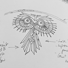 Done learning from Dresser's design and time to work on my own 'Owl Service'. First try and not quite there yet. The scrawl and arrows are my adjustment notes, I write a lot on the edges of sketches when I'm trying to work things out. #inktober2018