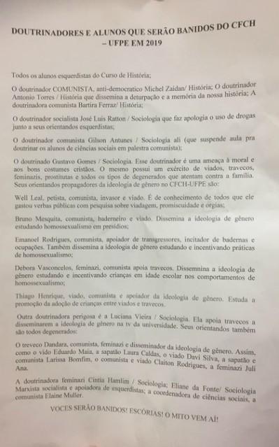 Lista ameaçando alunos e professores da UFPE circula nas redes sociais