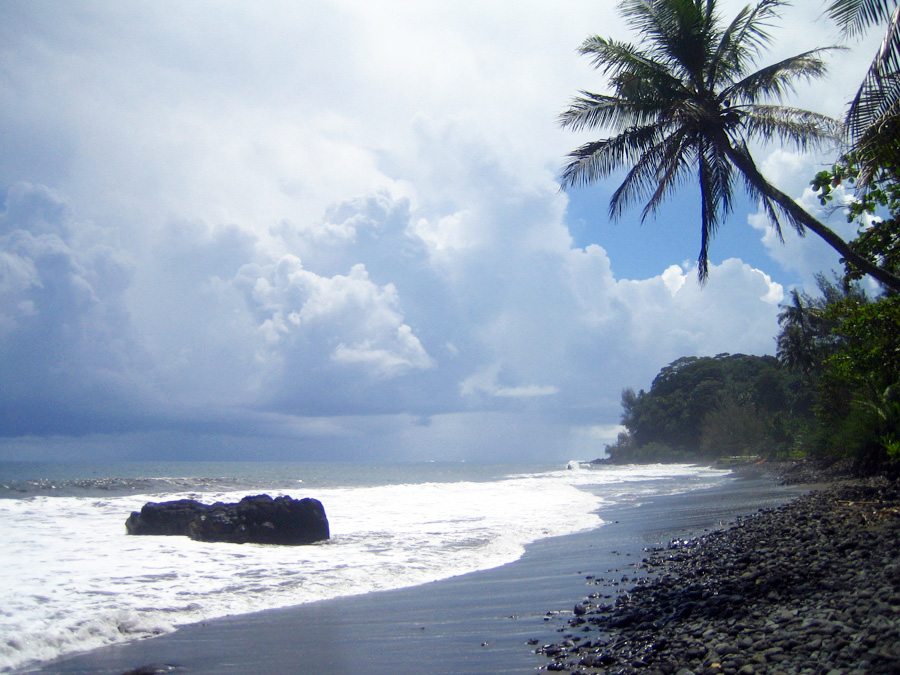 Tahiti is famous for black sand beaches. Photo taken in 2006