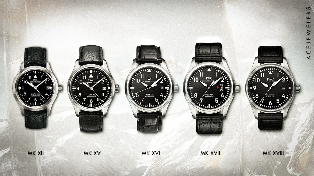 The evolution of the Mark Pilot watches by IWC Schaffhausen.