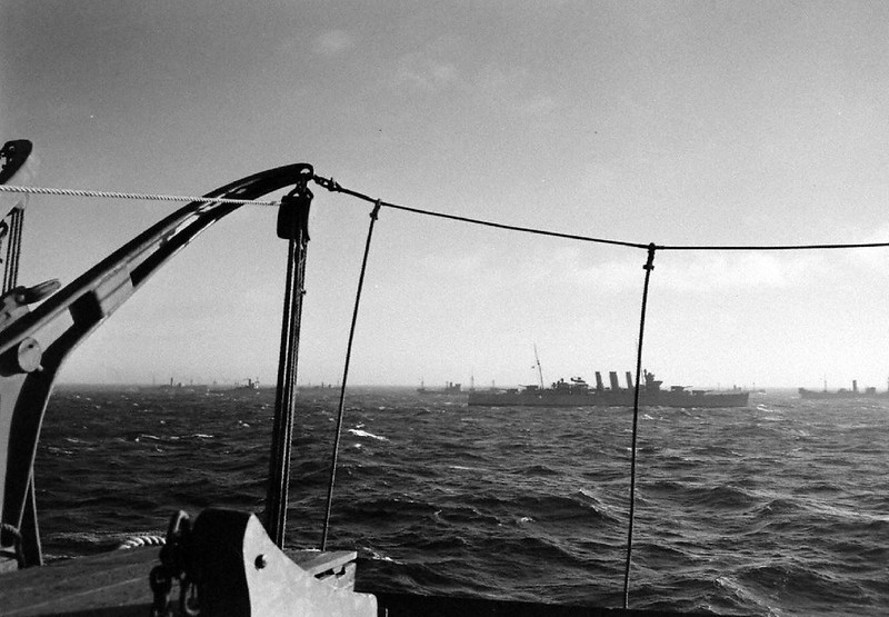 Convoy QP 1 returning from Russia in October 1941. Departure from Arkhangelsk (Russia) on 28 September 1941 and arrival at Scapa Flow (Scotland) on 10 October 1941 - Margaret Bourke-White - LIFE