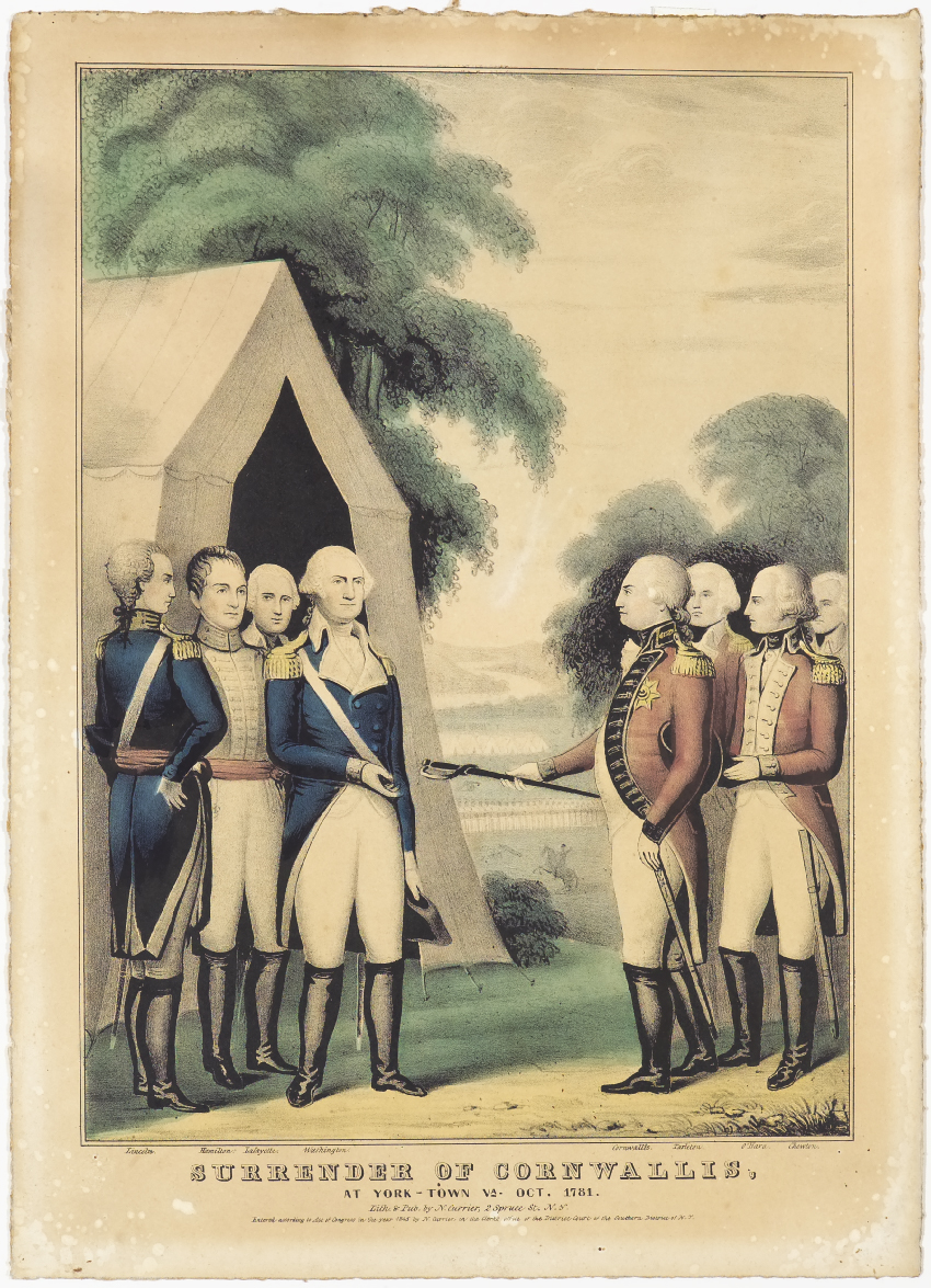 Surrender of Cornwallis. At York-town, VA Oct. 1781. Hand-colored lithograph by Nathaniel Currier, January 1, 1845. From. D'Amour Museum of Fine Arts.